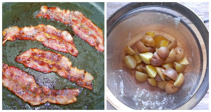 Book bacon and boil potatoes