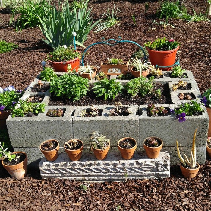 Cement Blocks Raised Garden Bed