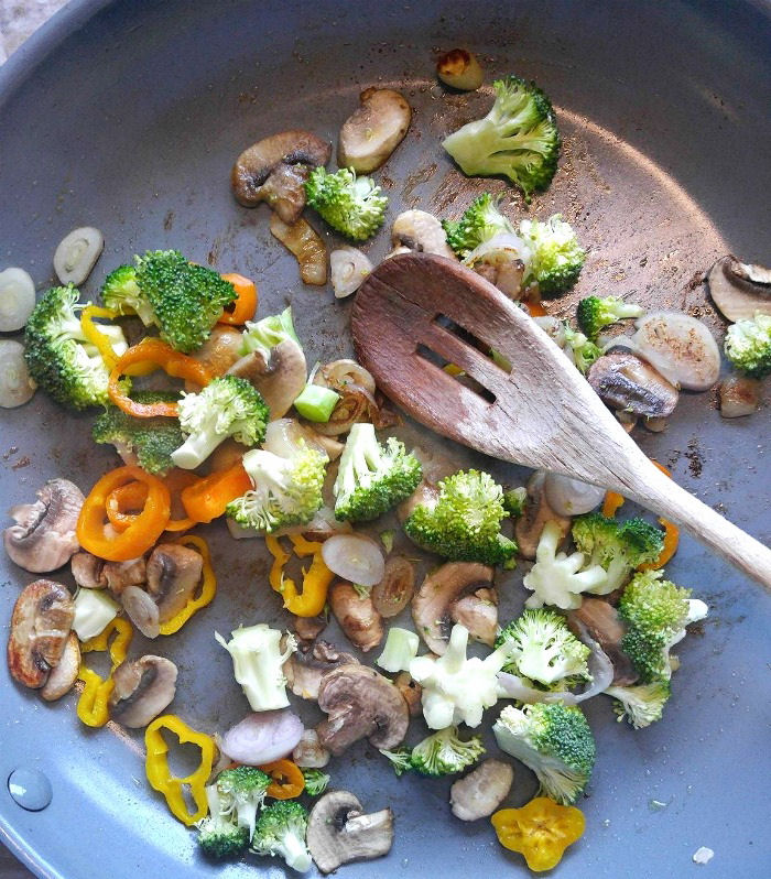 Cook the vegetables in olive oil