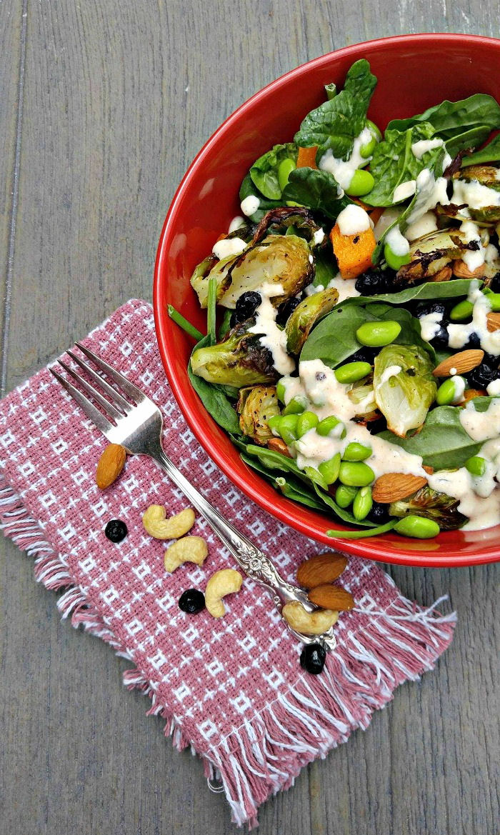 Roast vegetable salad with creamy cashew dressing