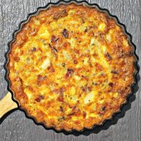 Cooked crustless chicken quiche