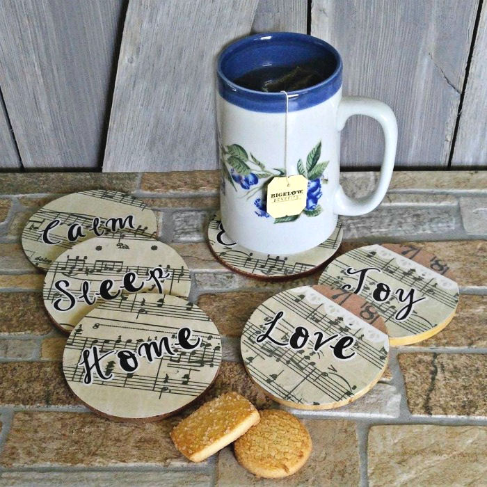 Cup of tea and music coasters