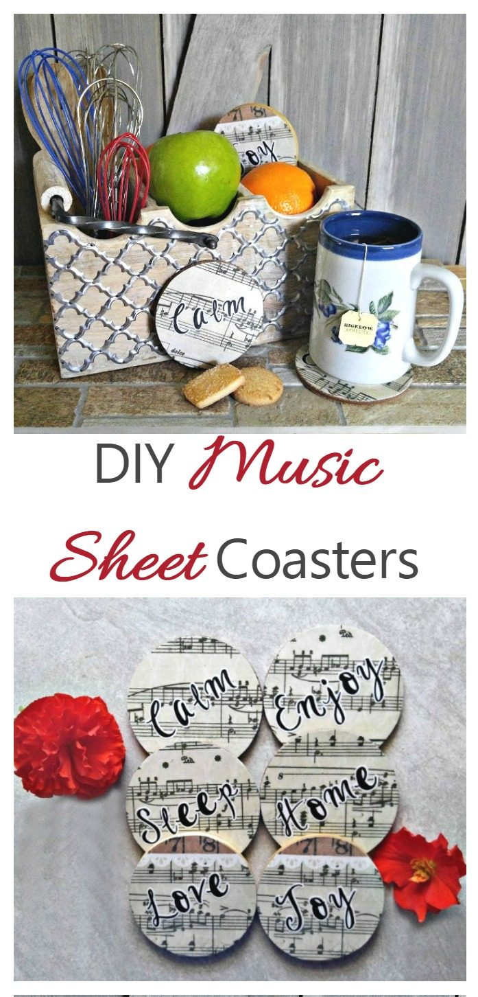 Tool caddy, cup of tea and music coasters with words reading DIY Music Sheet Coasters.
