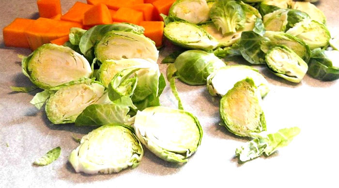 Sliced Brussels sprouts and cubed squash.