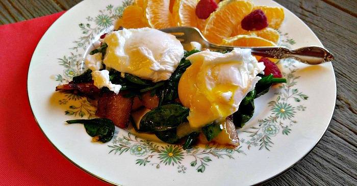 The egg oozes over the spinach for a delightful flavor.