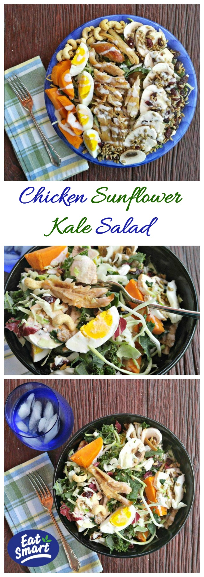 This amazing chicken sunflower kale salad is super easy to make and has sweet potatoes , eggs and loads of superfoods. It is gluten free and so, so tasty! #EatSmartEatClean, #IC, #ad