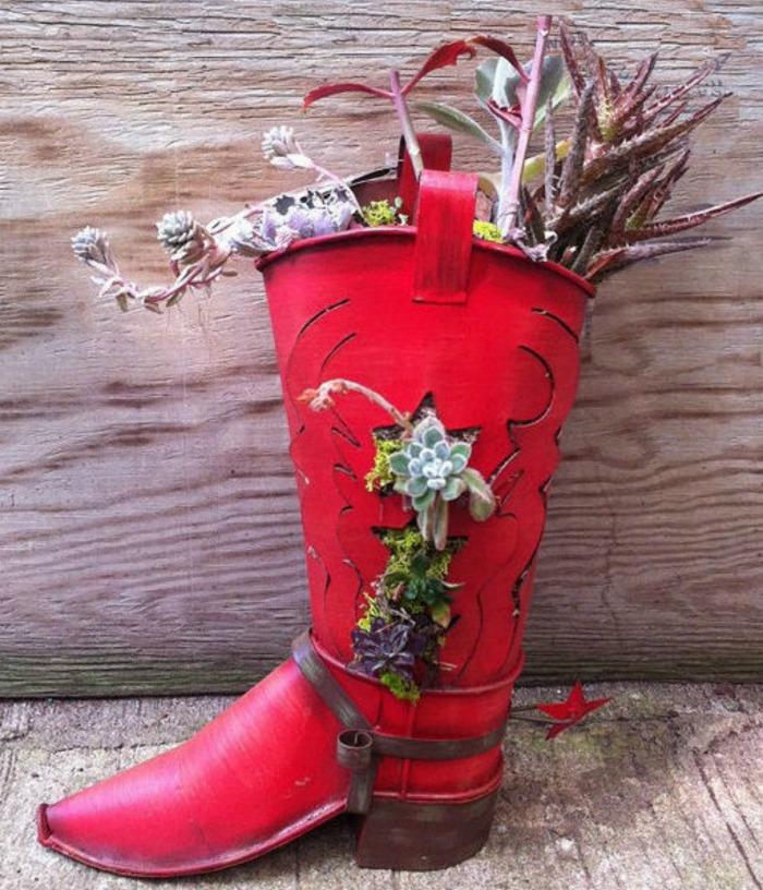 Succulent cowboy boot planter