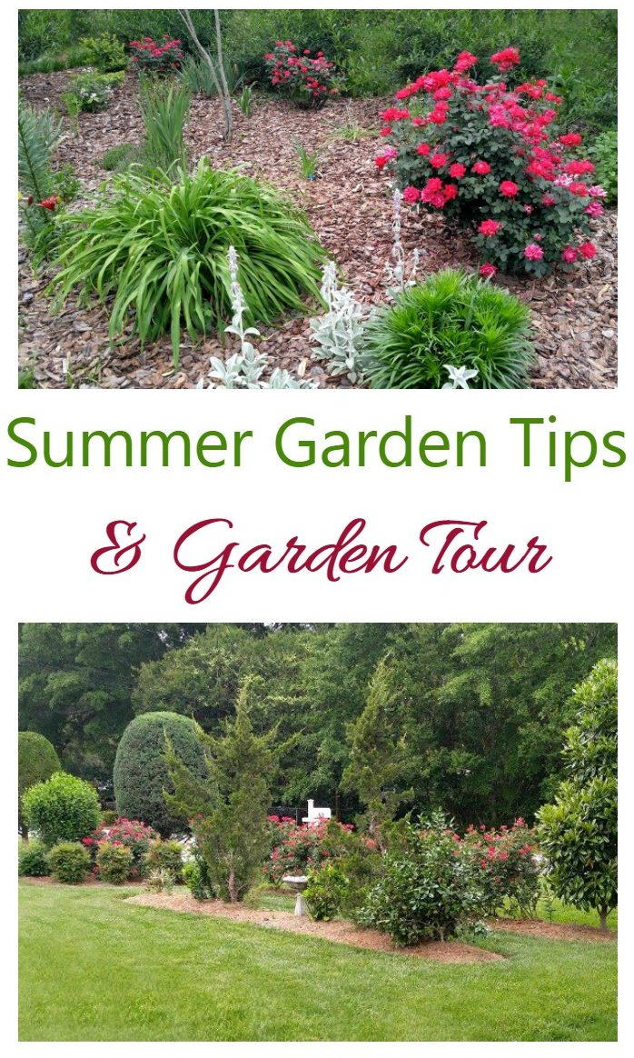 Beautiful gardens and words reading Summer Garden Tips and Garden Tour