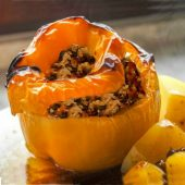These stuffed peppers with ground turkey are healthy and clean.