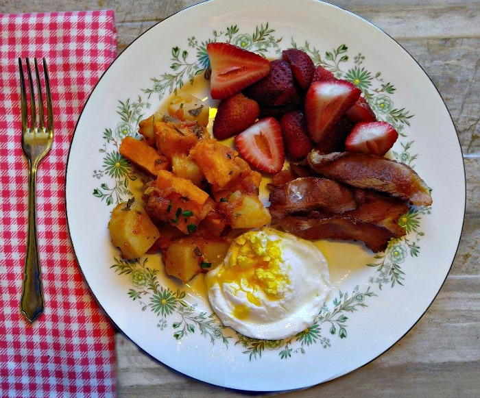 Want to know what to do with cooked sweet potatoes? Include them in a Breakfast with, eggs, bacon and fruit
