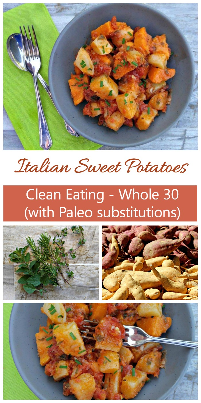 These amazing Italian sweet potatoes are full of the flavor of fresh home grown herbs. They make a wonderful side dish and are great as leftovers.