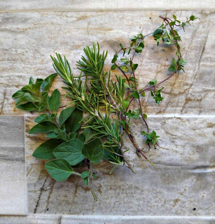 fresh oregano., rosemary and thyme
