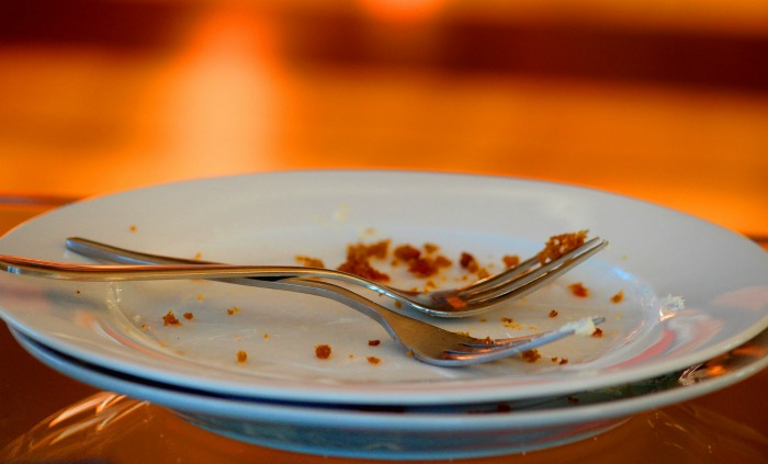crumbs on a plate attract ants