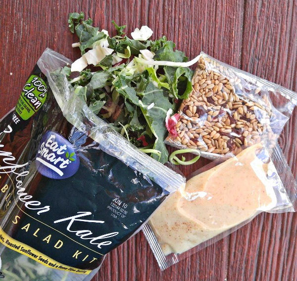 Ingredients in an Eat Smart salad kit