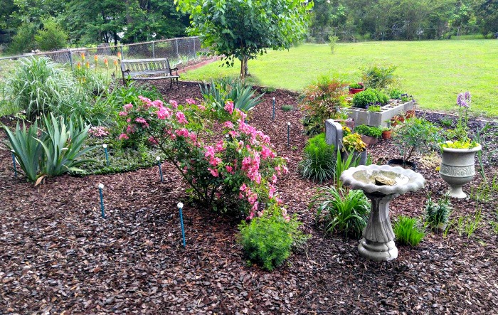 Garden bed with bird bath