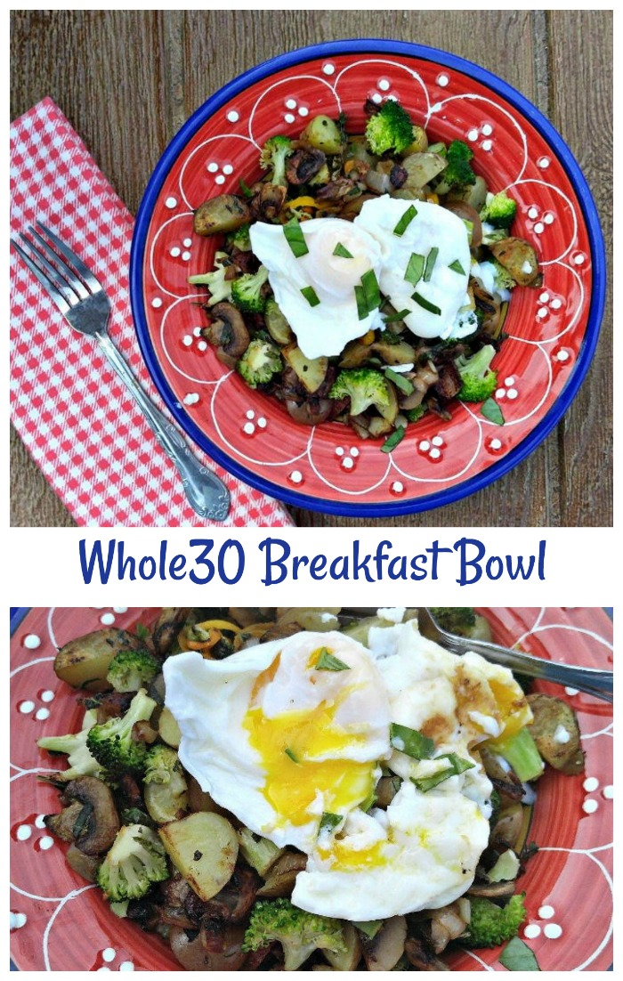 This hearty and filling breakfast bowl is Whole30 compliant and Gluten free. For Paleo, just use sweet potatoes.  What a great start to your healthy eating day #paleo #whole30 #whole30recipes #breakfastbowl #whole30breakfastbowl #healthyliving #healthyeating