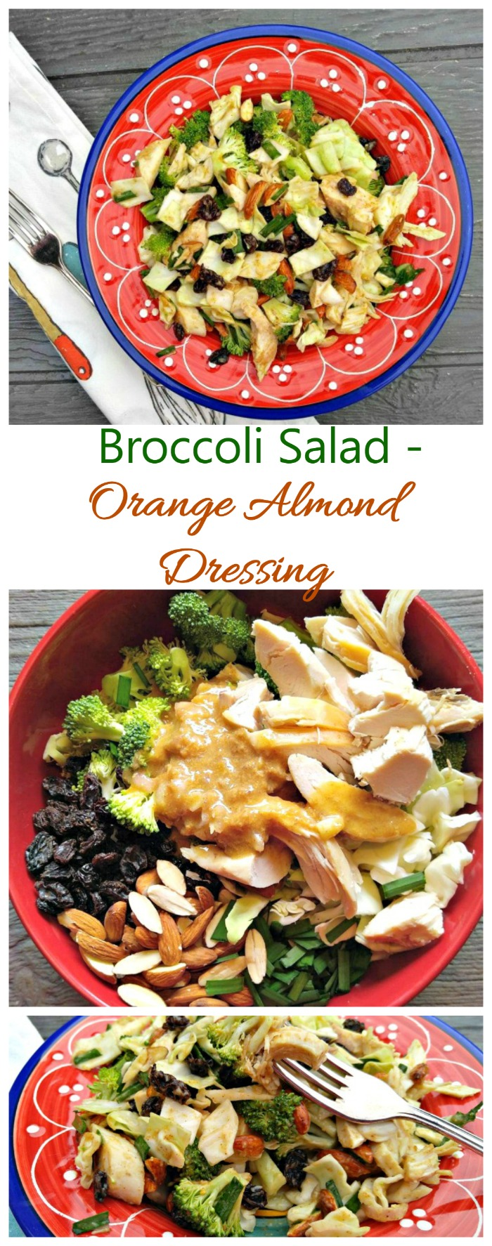 This broccoli salad has a delicious home made orange and almond butter dressing. It's ready in 15 minutes and super tasty.