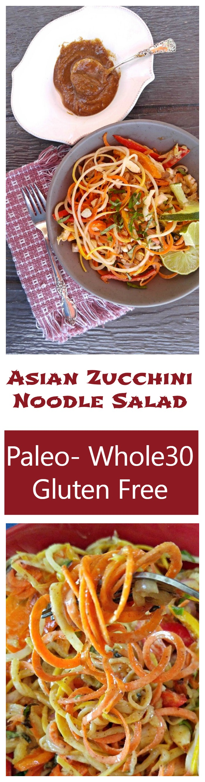 This Asian zucchini noodle salad has the most amazing dressing. It' is filling and tasty and super easy to prepare.
