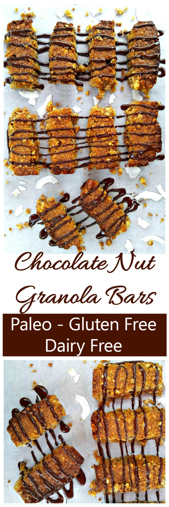 These chocolate nut granola bars are dairy free, Paleo and gluten free. YAY for clean eating!