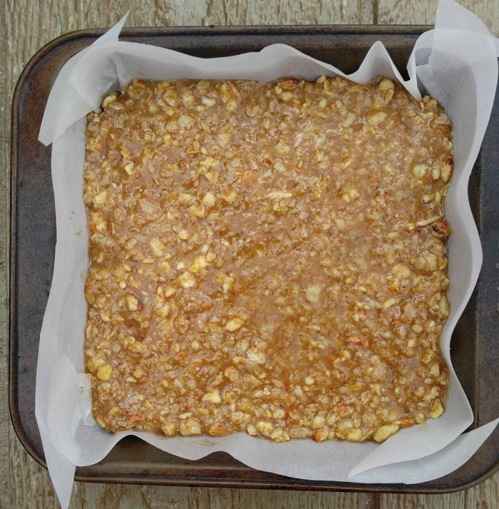 Granola bar mixture ready to bake