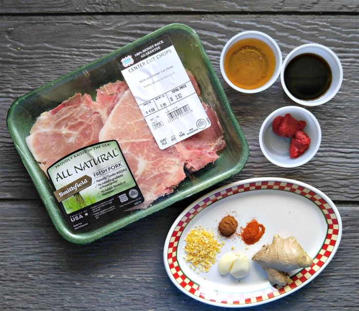Ingredients for Paleo grilled Pork chops and marinade