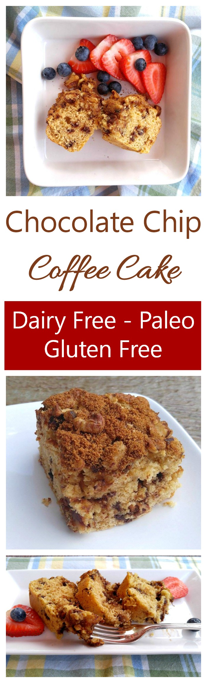 This chocolate chip coffee cake is dairy free, gluten free and fits into a Paleo diet. It's easy to make and super tasty.