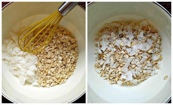 Mixing the oats and coconut flakes