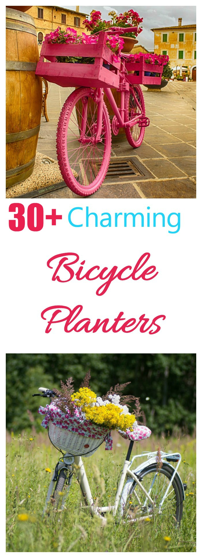 These creative bicycle planters show over 30 different ways to use a bicycle as a focal point in your garden