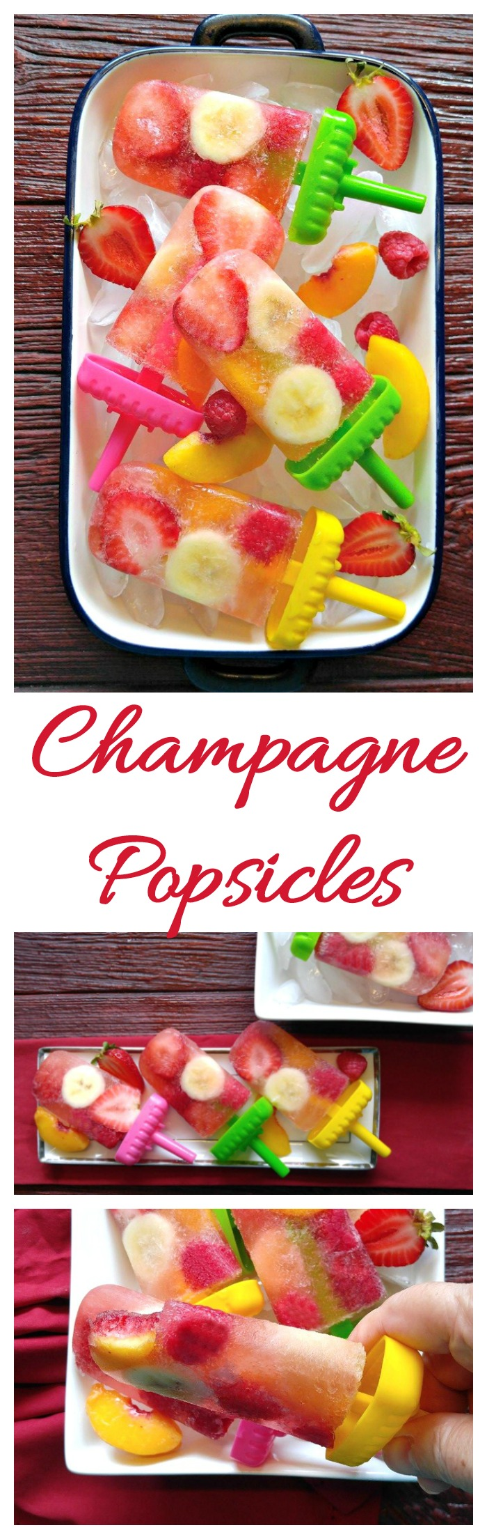 Thee champagne popsicles are a great tasting adult frozen treat. They are loaded with fresh fruit.