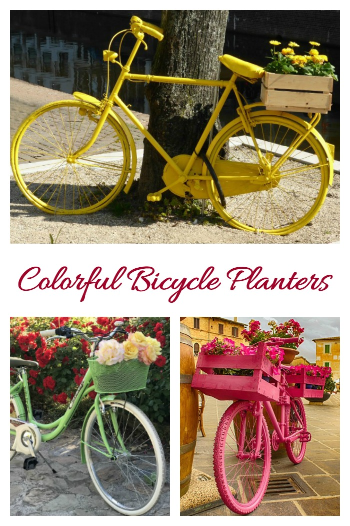 Colorful bicycle planters