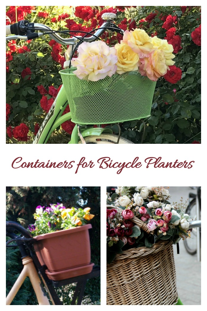 All sorts of items can be useful to hold flowers for bicycle containers