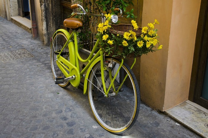 Lime green bicycle planter with daisies