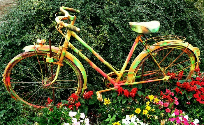 Psychedelic Bicycle Planter