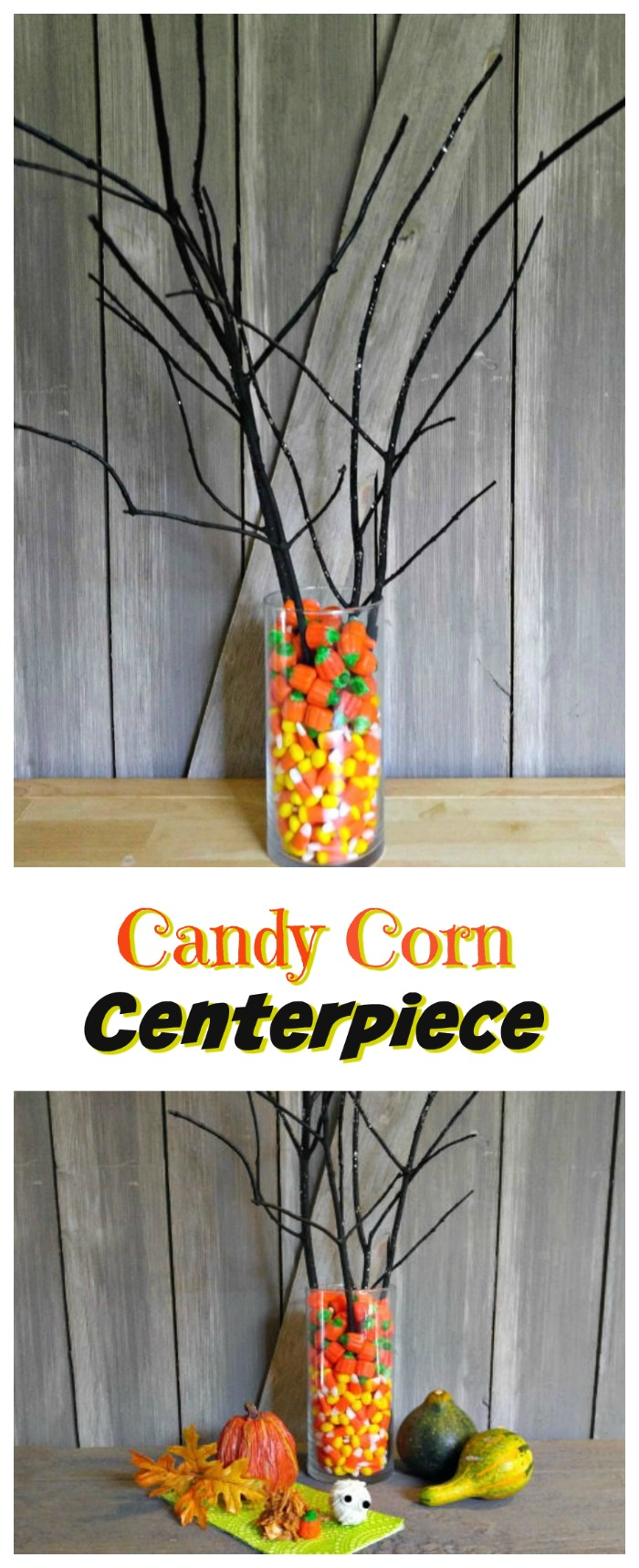 Candy corn centerpiece halloween party table display