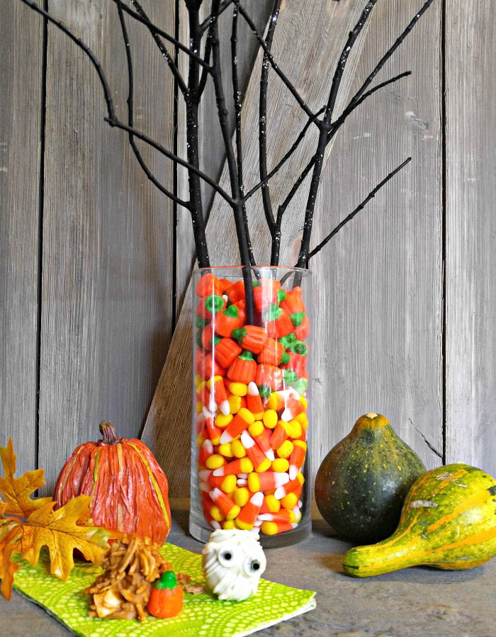 Candy corn centerpiece, and Halloween treats