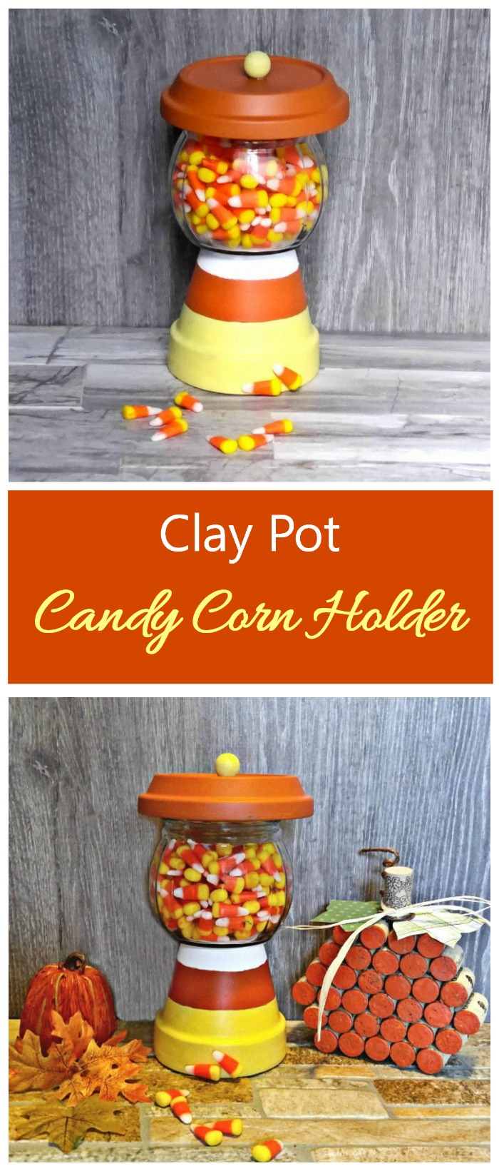 This Terracotta Candy Jar is simple to make and will delight your neighborhood trick or treaters. #halloweendiy #claypotcrafts