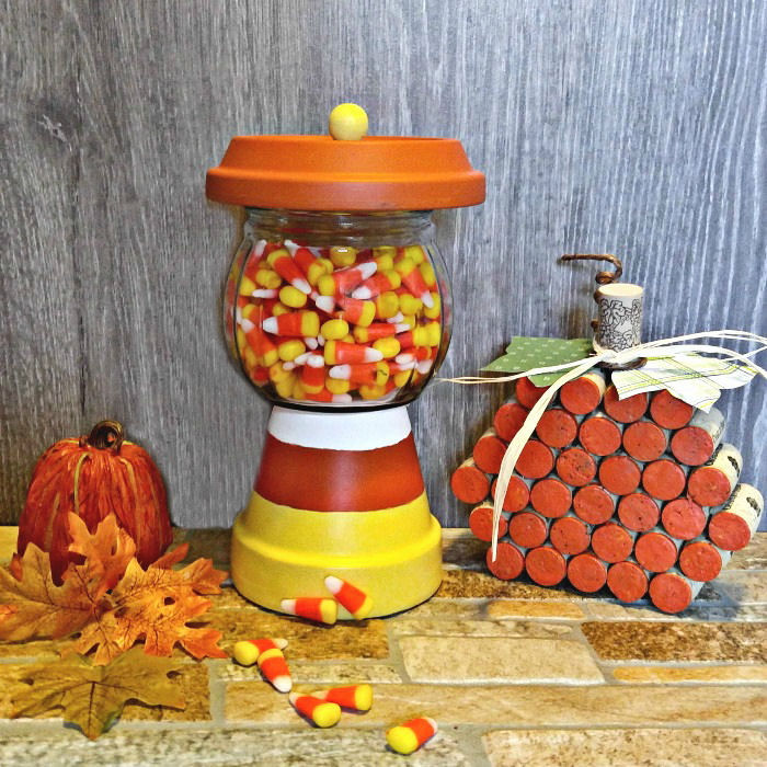 Candy corn dish in a Fall vignette