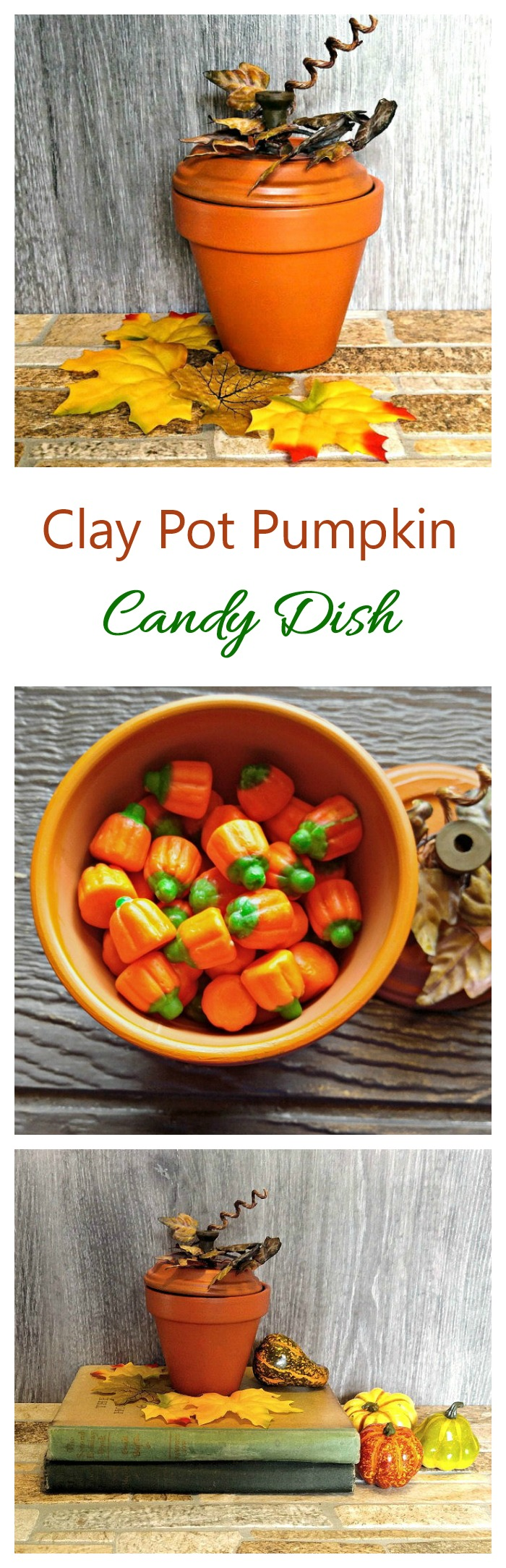 This clay pot pumpkin is super easy to make and has a hidden candy dish surprise under the lid. #halloweencandy #diycandydish