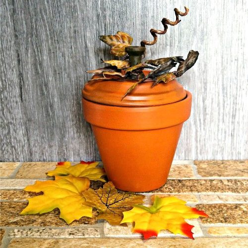 Finished clay pot pumpkin