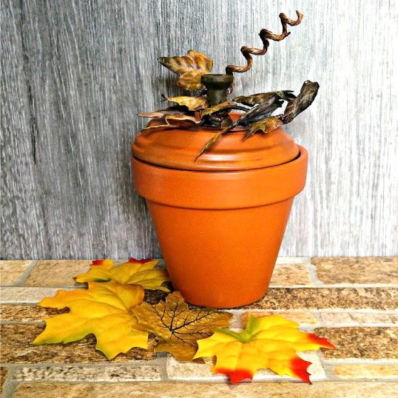 Finished clay pot pumpkin