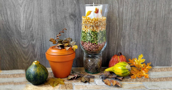 Hurricane lamp centerpiece vignette