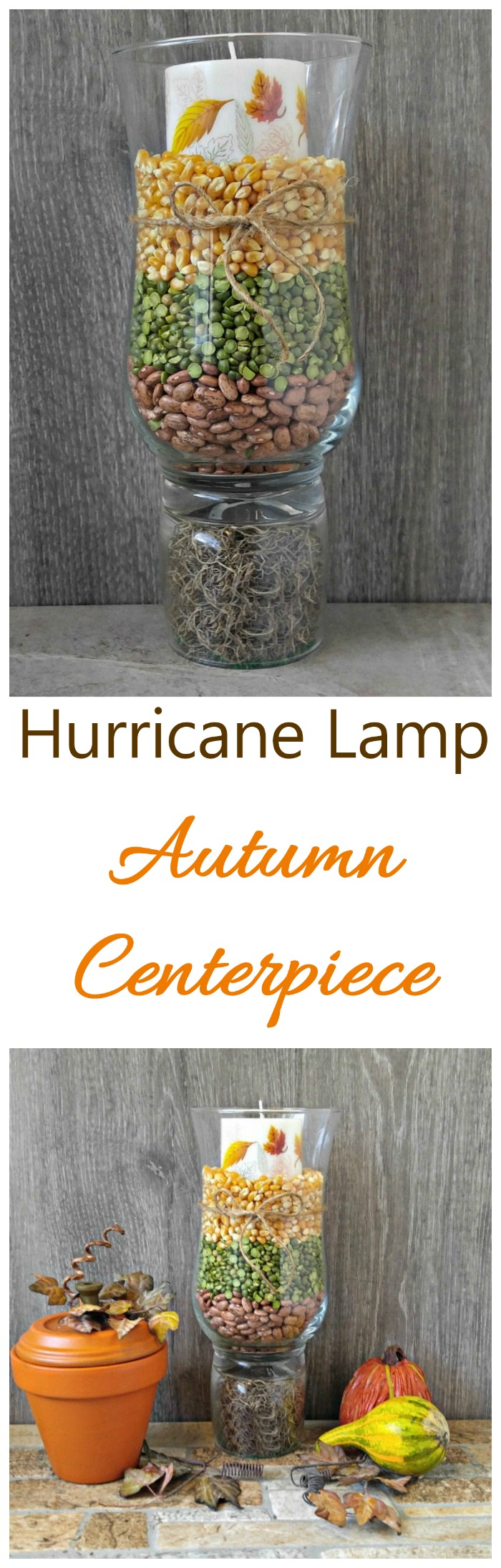 This hurricane lamp fall centerpiece is super easy to make and very inexpensive, as well. #falldecor #tablescape