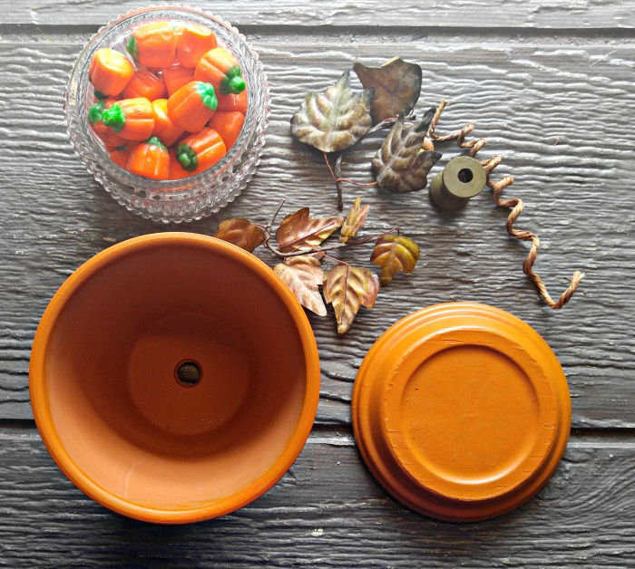 supplies for the clay pot pumpkin