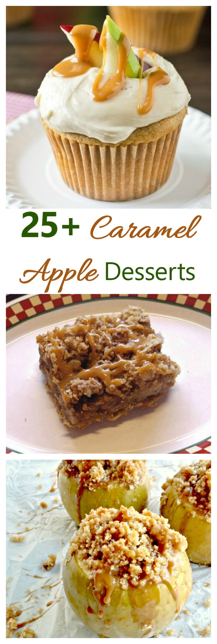 These 25 caramel apple dessert ideas feature the traditional favorite as well as cookies, bars and even cocktails. #caramelapples #toffeeapples #candyapples