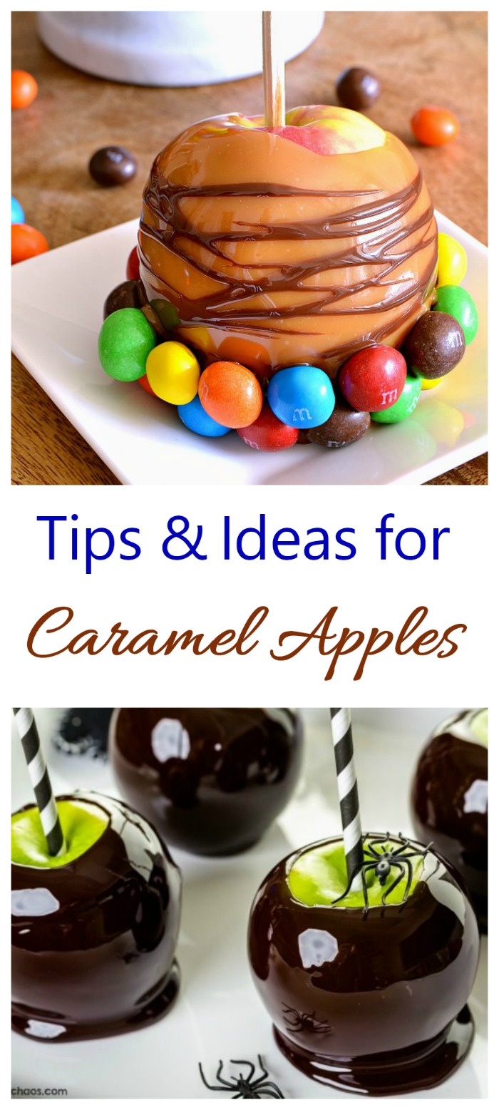 Get tips and topping ideas for caramel apples. #caramelapples #toffeeapples