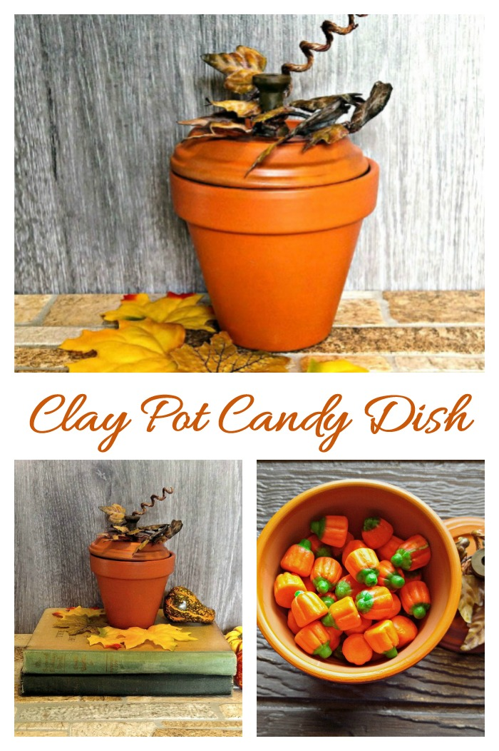 This Clay pot pumpkin candy dish is super fun and easy to make and adds a fun look to your Halloween decor