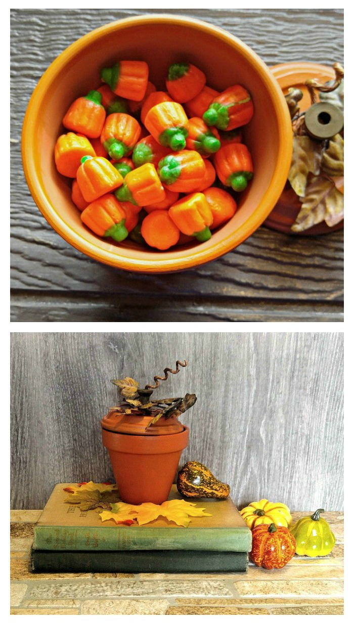 Turn an old clay pot into a fun candy dish for Thanksgiving or Halloween