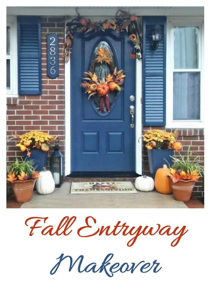 Blue door on a house with fall decorations and words reading Fall entryway makeover.