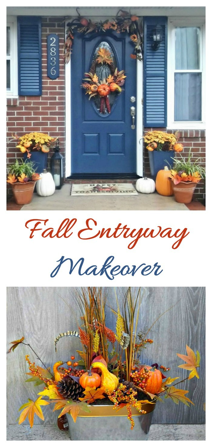 This fall entryway makeover transitions from Fall through Halloween and on to Thanksgiving with just a few changes. Decorate an entryway for fall. #LowesFallDecor #IC #ad