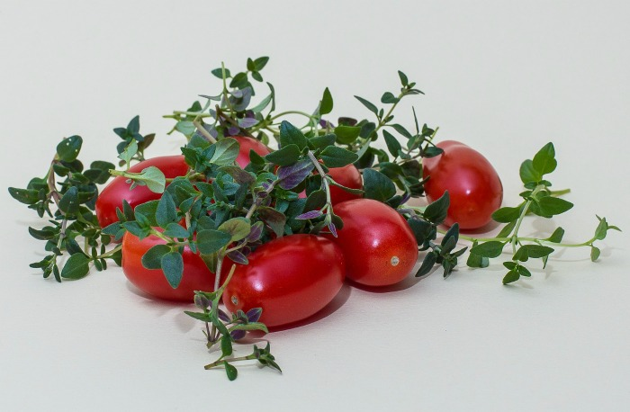 tomatoes and fresh herbs